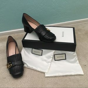 Gucci Marmont Leather Mid-Heel Pump with Fringe